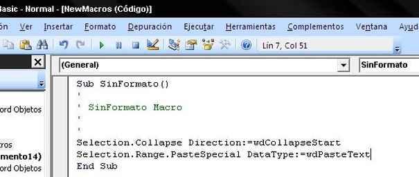 Creando la macro en el editor VisualBasic de Word