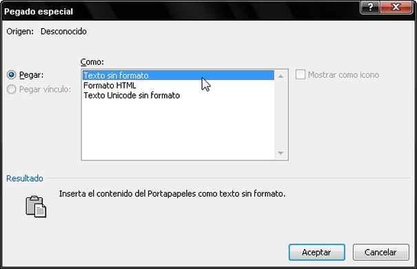 Pegado especial formato MS Word
